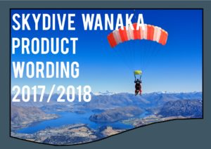 Skydive Wanaka Product Wording